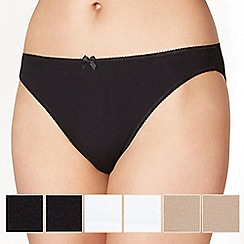 Debenhams - Pack of five cotton black, white and natural high leg briefs