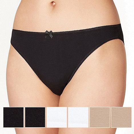 Debenhams - Pack of five cotton black, white and natural high leg briefs