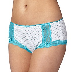 Debenhams - Turquoise spotted lace trim shorts