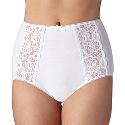 Debenhams - White cotton blend lace full briefs