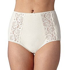 Debenhams - Cream cotton blend lace full briefs