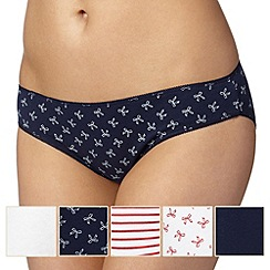 Debenhams - Pack of five navy bow bikini briefs