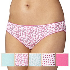 Debenhams - Pack of five bright pink butterfly bikini briefs
