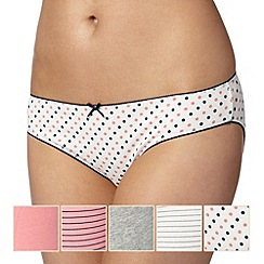 Debenhams - Pack of five peach and grey bikini briefs