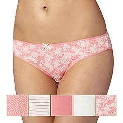 Debenhams - Pack of five coral and lace bikini briefs