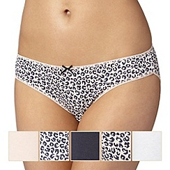 Debenhams - Pack of five pale pink animal print bikini briefs