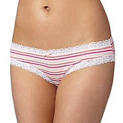 Debenhams - Bright pink striped ultra soft brazilian briefs