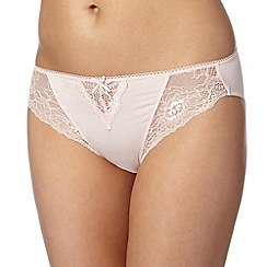 Debenhams - Light pink lace trim high leg briefs