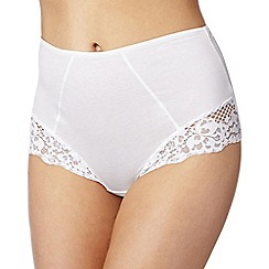 Debenhams - White lace trim 'invisible' full briefs