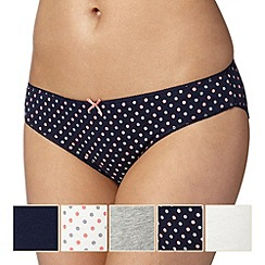 Debenhams - Pack of five navy coral bikini briefs