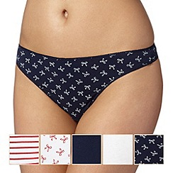 Debenhams - Pack of five navy bow thongs
