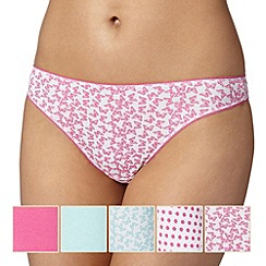 Debenhams - Pack of five bright pink butterfly thongs
