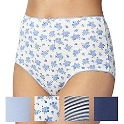 Debenhams - Pack of five classic blue floral full briefs