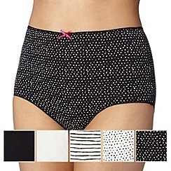 Debenhams - Pack of five black and white full briefs