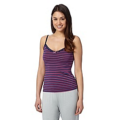 Debenhams - Navy multi striped super soft vest