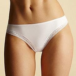 Debenhams - White lace trim thong
