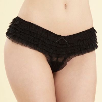 Black ruffle brazilian briefs