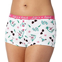 Debenhams - White 'Life's A Beach' summer inspired print shorts