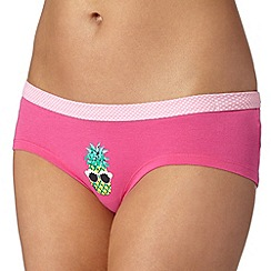 Debenhams - Bright pink pineapple low rise shorts