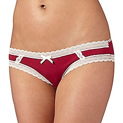 Debenhams - Dark pink super soft lace trim brazilian briefs