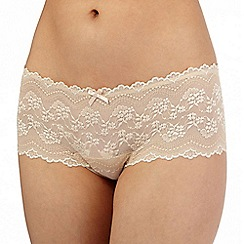 Debenhams - Nude floral lace brazilian briefs