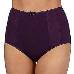Debenhams - Purple embroidered full briefs