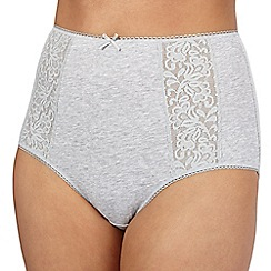 Debenhams - Grey embroidered full briefs