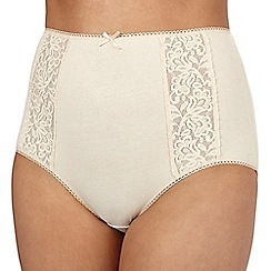 Debenhams - Natural embroidered full briefs