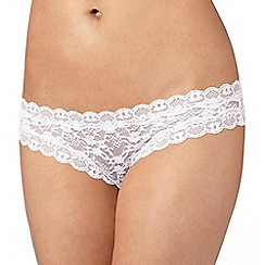 Debenhams - White lace hipster briefs