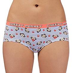 Debenhams - Blue striped 'Cheeky Monkey' low rise shorts