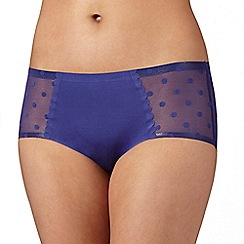 Debenhams - Blue 'invisible' spotted mesh back shorts