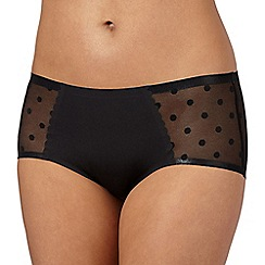 Debenhams - Black 'invisible' spotted mesh back shorts