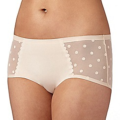 Debenhams - Natural 'invisible' spotted mesh back shorts