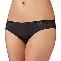 Debenhams - Black 'invisible' spotted mesh back brazilian briefs