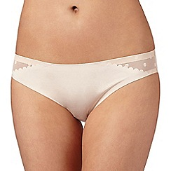Debenhams - Natural 'invisible' spotted mesh back Brazilian briefs