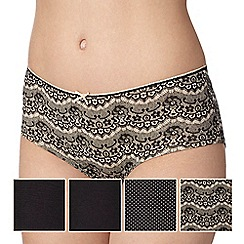 Debenhams - Pack of five black lace print shorts