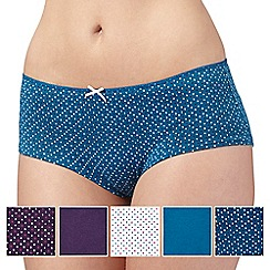 Debenhams - Pack of five turquoise, plum and white heart printed shorts