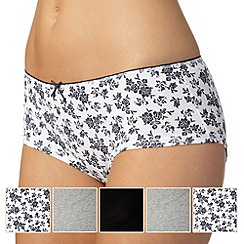 Debenhams - Pack of five grey, white and black plain and sprig printed shorts