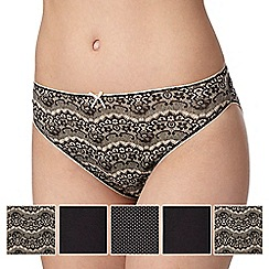 Debenhams - Pack of five black lace print high leg briefs