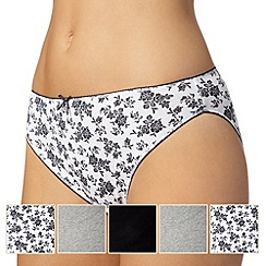 Debenhams - Pack of five grey, white and black plain and sprig printed high leg briefs