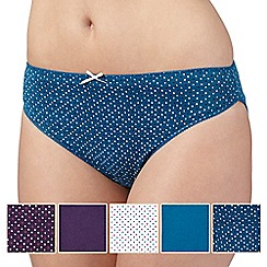 Debenhams - Pack of five turquoise, plum and white heart printed high leg briefs