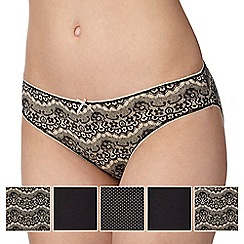 Debenhams - Pack of five black lace print bikini briefs