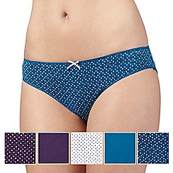 Debenhams - Pack of five turquoise, plum and white heart printed bikini briefs