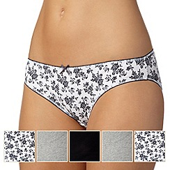 Debenhams - Pack of five grey, white and black plain and sprig printed bikini briefs