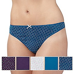 Debenhams - Pack of five turquoise, plum and white heart printed thongs