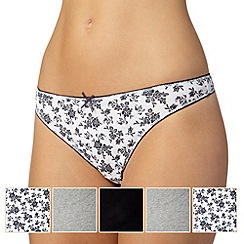 Debenhams - Pack of five grey, white and black plain and sprig printed thongs