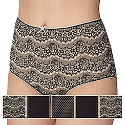 Debenhams - Pack of five black lace print full briefs