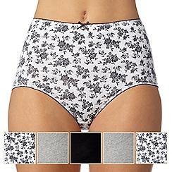 Debenhams - Pack of five grey, white and black plain and sprig printed full briefs