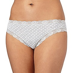 Debenhams - Grey spotted lace trimmed high leg briefs