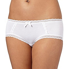Debenhams - White lace trimmed high leg briefs